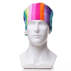 Медицинская шапочка с рисунком для коротких волос Rainbow