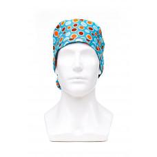 Медицинская шапочка с рисунком для длинных волос Polka dot 2